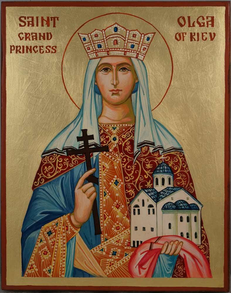 Saint Olga Grand Princess of Kiev Hand Painted Orthodox Icon