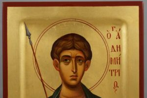 St Demetrius the Great Martyr raised border Hand Painted Byzantine Icon