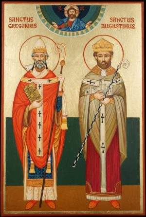 St Gregory and St Augustine Hand Painted Icon