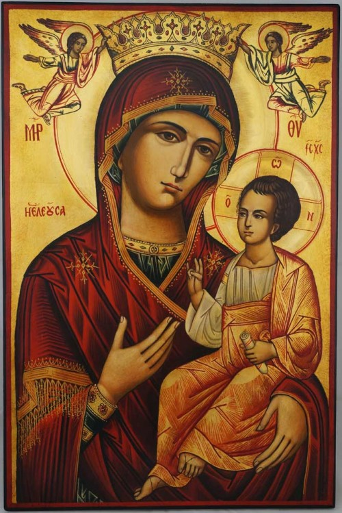 Theotokos Hodegetria with angels Hand Painted Orthodox Icon on Wood