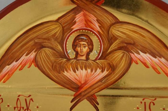 Theotokos Jesus Christ Cherub polished gold Hand Painted Orthodox Icon