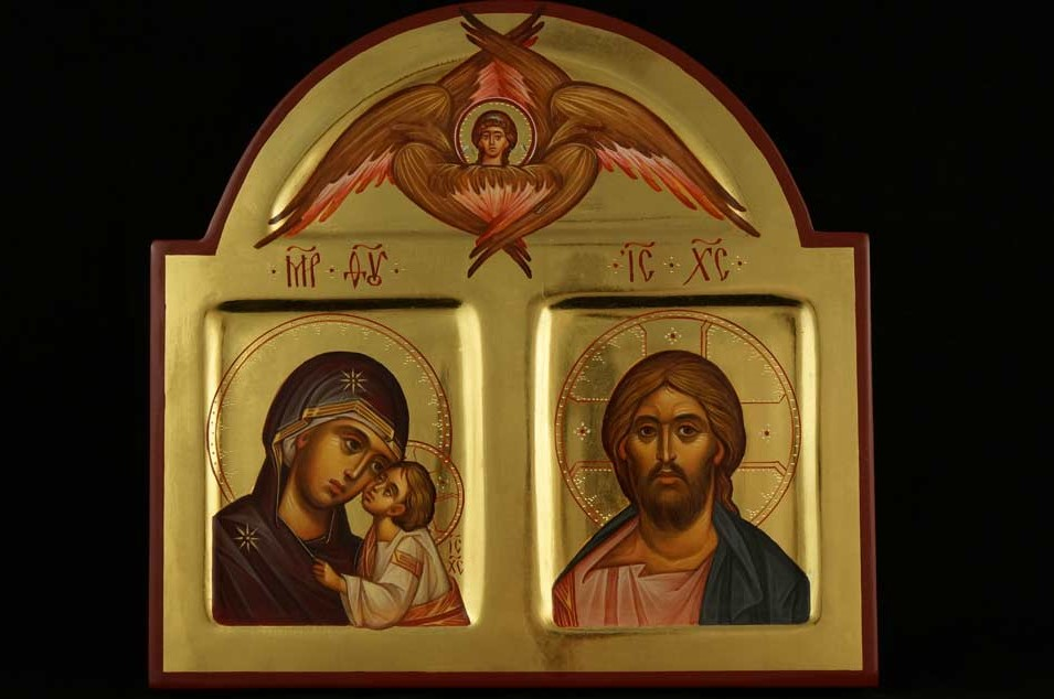 Theotokos Jesus Christ Cherub polished gold Hand Painted Orthodox Icon
