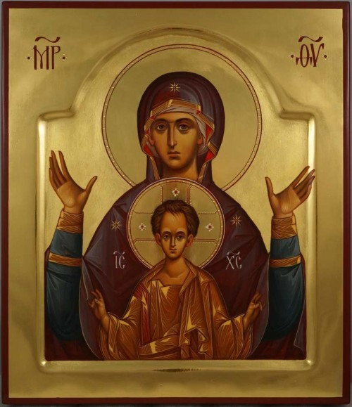 Theotokos of the Sign Znamenie polished gold Icon Hand Painted Orthodox