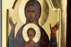 Theotokos of the Sign Znamenie polished gold Icon Hand Painted Orthodox