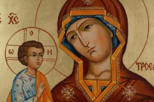 Virgin Mary Trojerucica cm Hand Painted Orthodox Icon on Wood