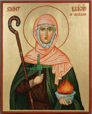 Saint Brigid of Ireland Hand Painted Orthodox Icon