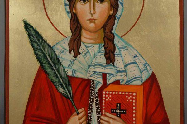 Saint Sabina Hand Painted Roman Catholic Icon on Wood