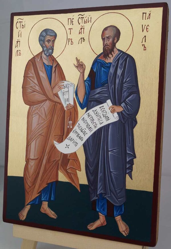 Apostles St Peter and St Paul Hand Painted Orthodox Icon on Wood