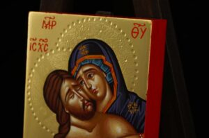 Descent from the Cross Icon polished gold miniature Orthodox