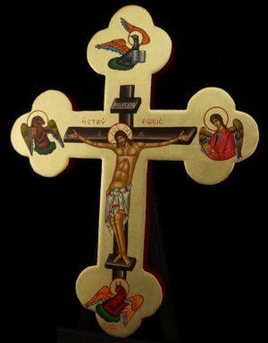 Hand Painted Wall Crucifix Cross Icon Byzantine Orthodox