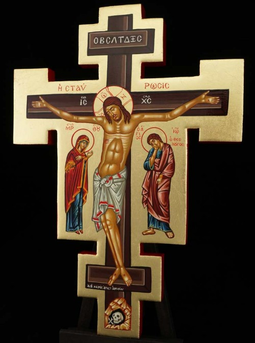 Hand Painted Wall Crucifix Cross Icon Byzantine Orthodox