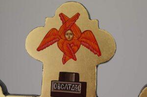Hand Painted Wall Crucifix Icon Greek Orthodox Byzantine Theotokos and St John
