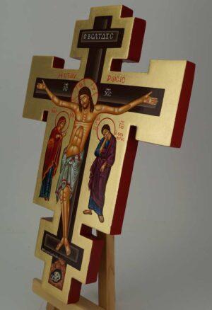Hand Painted Wall Crucifix Theotokos and St John Icon Orthodox