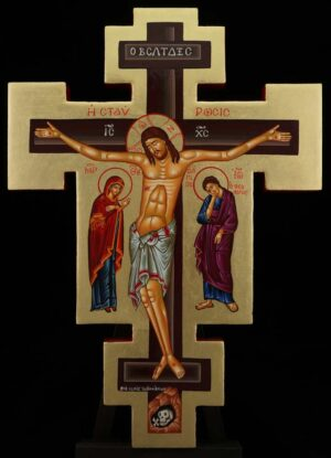 Hand Painted Wall Crucifix Theotokos and St John Icon Orthodox