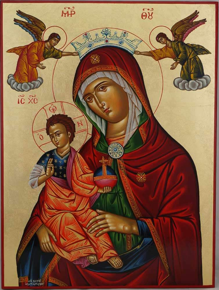 Holy Virgin Mary of Angels Hand Painted Icon Greek Byzantine Orthodox Large