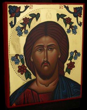 Jesus Christ Flower Halo polished gold Icon Hand Painted Byzantine Orthodox