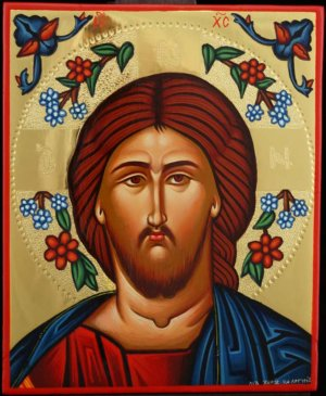 Jesus Christ Flower Halo polished gold Icon Hand Painted Byzantine Orthodox