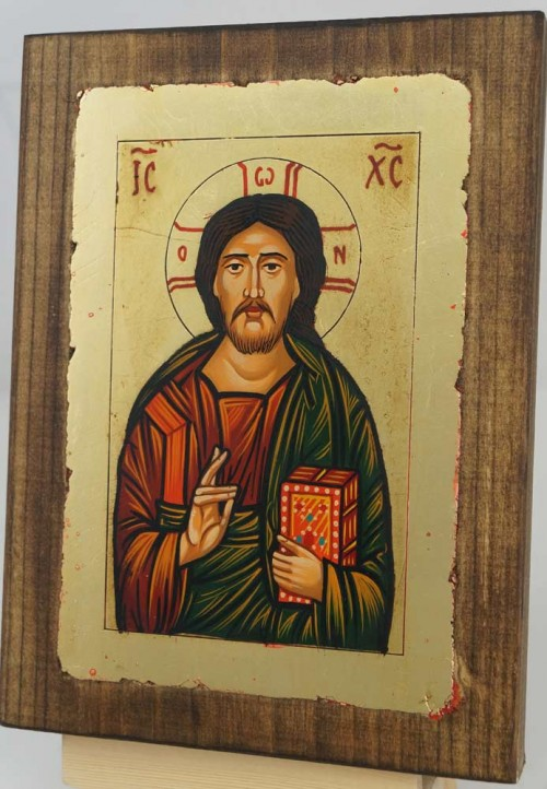 Jesus Christ Pantocrator – closed book Hand Painted Icon Byzantine Orthodox