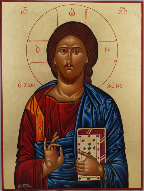 Jesus Christ Pantocrator Closed Book Hand Painted Greek Icon Byzantine Orthodox Large
