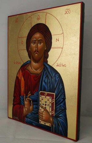Jesus Christ Pantocrator Closed Book Hand Painted Greek Icon Byzantine Orthodox Large