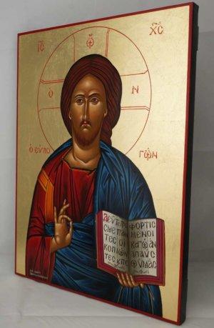 Jesus Christ Pantocrator Open Book Hand Painted Greek Icon Byzantine Orthodox Large