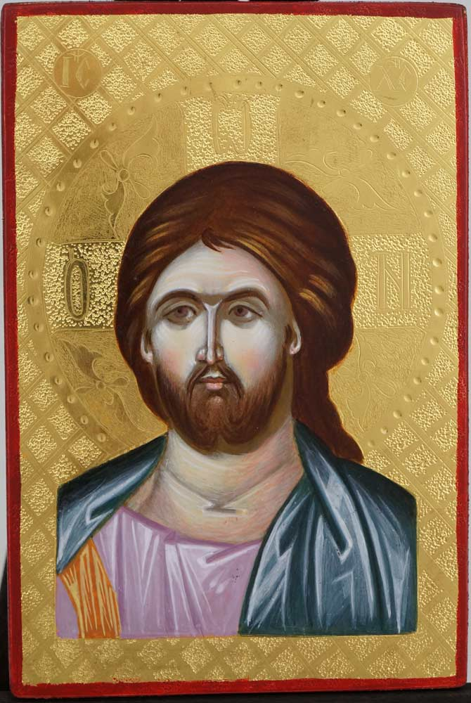 Jesus Christ Pantocrator Polished Gold Miniature Hand Painted Icon Byzantine Orthodox