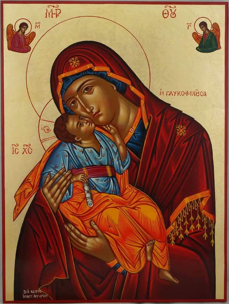Mother of God Glykophilousa Hand Painted Icon Greek Byzantine Orthodox Large