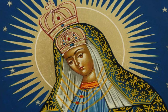 Mother of God Ostrobramska Hand Painted Orthodox Icon Our Lady of the Gate of Dawn