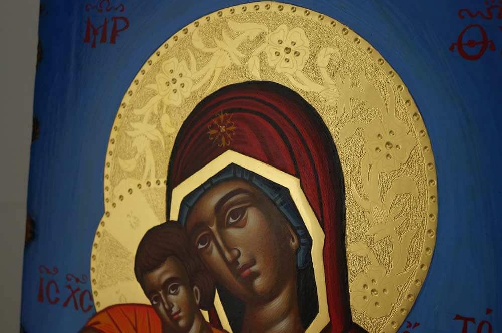 Panagia Axion Estin Hand Painted Greek Icon Byzantine Orthodox Polished Gold Halos
