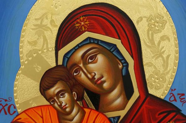 Panagia Axion Estin Hand Painted Greek Icon Byzantine Orthodox Polished Gold Halos