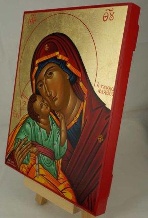 Panagia Glykophilousa Hand Painted Greek Orthodox Icon Byzantine