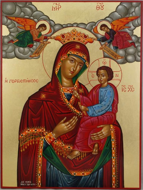 Panagia Gorgoepikoos Hand Painted Icon Greek Orthodox Byzantine Quick to Hear Large