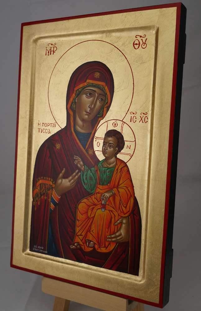 Panagia Portaitissa Hand Painted Greek Icon Byzantine Orthodox Raised Border Wood