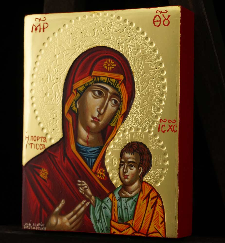 Panagia Portaitissa Polished Gold Miniature Icon Hand Painted Byzantine Orthodox