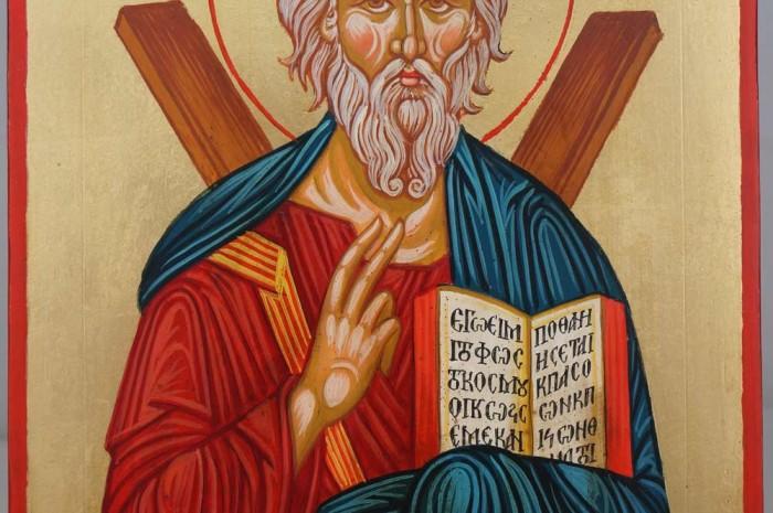 Saint Andrew the Apostle Hand Painted Greek Orthodox Icon on Wood