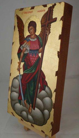 Saint Archangel Michael Full Body Hand Painted Greek Orthodox Icon Polished Gold Halo