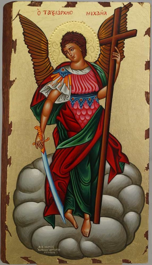 Saint Archangel Michael Full Body Hand Painted Greek Orthodox Icon Polished Gold Halo