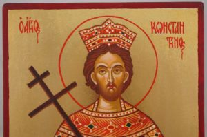 Saint Constantine Hand Painted Byzantine Orthodox Icon on Wood