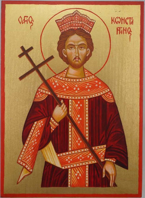 Saint Constantine Hand Painted Greek Orthodox Icon on Wood