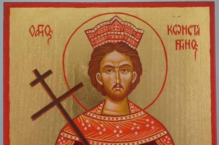 Saint Constantine Hand Painted Greek Orthodox Icon on Wood