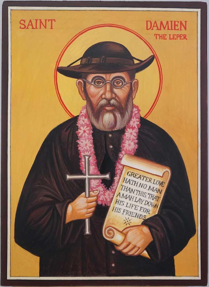 Saint Damien of Molokai Hand Painted Catholic Icon on Wood