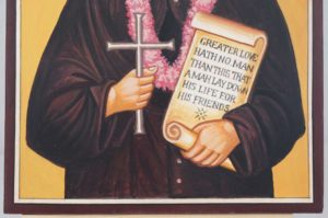 Saint Damien of Molokai Hand Painted Catholic Icon on Wood