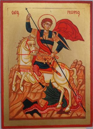 Saint George Slaying the Dragon Hand Painted Greek Orthodox Icon