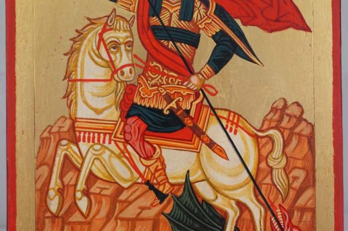 Saint George Slaying the Dragon Hand Painted Greek Orthodox Icon