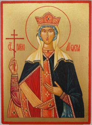 Saint Helen Helena Hand Painted Byzantine Orthodox Icon on Wood