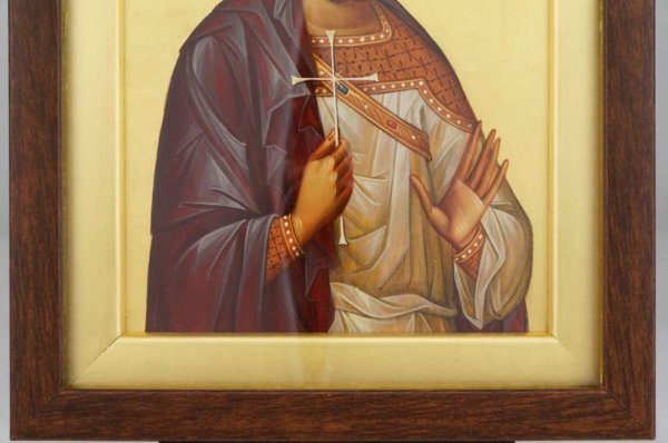 Saint Martyr Menas Hand Painted Icon Framed Byzantine Orthodox