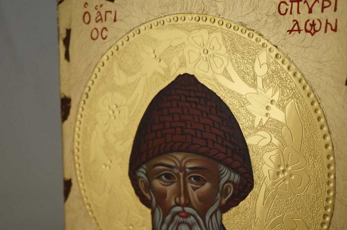 Saint Spyridon Hand Painted Greek Orthodox Icon Polished Gold Decorated Halo