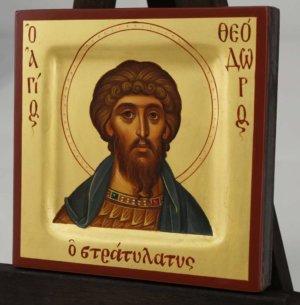 Saint Theodore Stratelates miniature Hand Painted Icon Byzantine Orthodox
