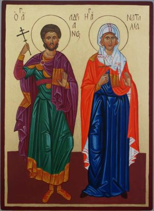 Saints Adrian and Natalia Hand Painted Orthodox Icon on Wood