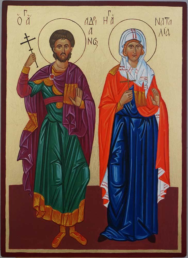 Saints Adrian and Natalia Hand Painted Orthodox Icon on Wood